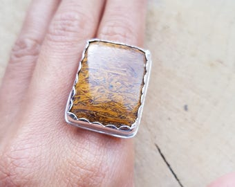 Jasper Ring, Jasper Jewellery, Statement Ring, Gemstone Ring, Brown Gemstone Ring