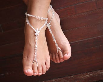 Crystal Beach Wedding Barefoot sandals Foot jewelry Anklet Toe Ring  Beach Sandles