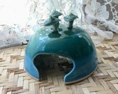 Porcelain Toad House in Aqua and Forest Green