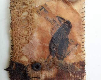 ACEO original textile muted tones encaustic waxed tea bag textile art old crow hand stitched teabag art