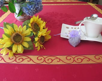 """Cotton Square Tablecloth. 64"""" by 64"""". Cotton Jacquard Teflon. Fabric from Provence, France Lemons in red."""