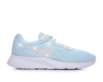 Bling nike shoes- bling light blue nike Tanjuan- custom nike shoes -custom sparkly sneakers- crystal nike shoes-crystal women's nikes-