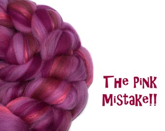 THE PINK MISTAKE - blended roving - Merino - Bamboo - 100g / 3.5oz