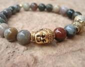 special order for cheryl, fancy jasper buddha bracelet with two gold buddha charms, custom order