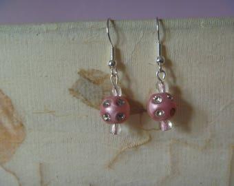 pink and diamante earrings, ecofriendly glittery pink earrings