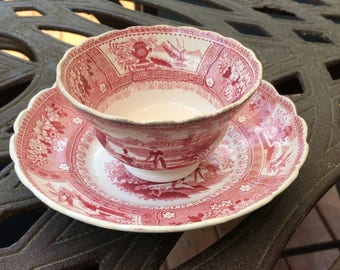 Staffordshire Cottage Chic, Antique Red Transferware CUP and SAUCER, CANOVA, Farmhouse Decor, Vintage Dining