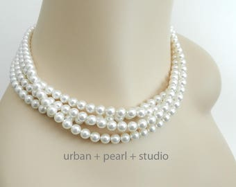 Swarovski Pearl Multi Strand Pearl Necklace Soft White Pearl Choker Bridal Necklace Wedding Jewelry