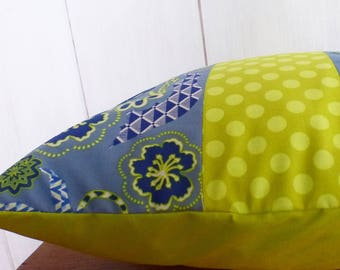 "Cushion cover 40x40cm Patchwork fabric blue and lime ""JUNGLE"""