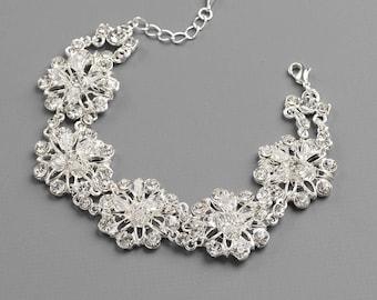 Swarovski Crystal Flower Bracelet, Bridal Jewelry, Rhinestone Wedding Bracelet, Crystal Bracelet, Silver Floral Wedding Bracelet ~JB-4842
