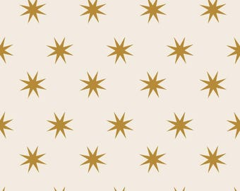 Christmas Fabric- Gold Metallic Stars - Cotton Fabric By The Yard - Riley Blake Designs - Fat Quarter Quilting - Choose Your Yardage