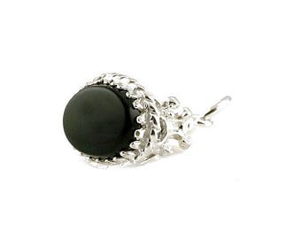 Sterling Silver & Onyx Fob Charm For Bracelets