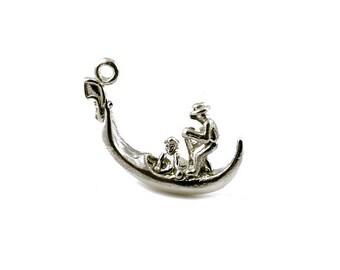 Sterling Silver Venetian Gondola Charm For Bracelets