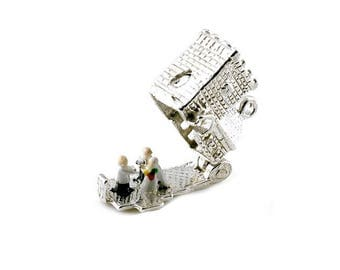 Sterling Silver Opening Square Church Charm For Bracelets