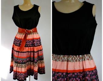 Sale 1970's Summer Sun Dress / 70s Peasant Dress / Bohemian Day Dress / Vtg 1970s Festival Dress / Hippie Girl Dress / Vintage Peasant Dress