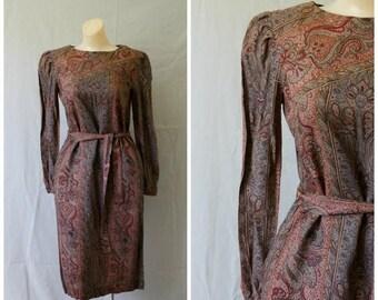 Sale Vintage Modest Paisley Dress / Vtg Secretaries Dress / Sherbet Dress / 1960's Office Dress / 1960s Modest Dress / Vintage Frock S/M