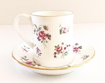 Vintage Tea Cup /  Floral  - Gold Trim ~ Antique Tea cup / Made in England~ Cup & Saucer - Fine Bone China /Bridal Tea /Staffordshire