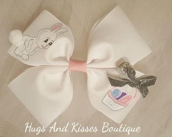 Springtime Handpainted Hairbow Available In Pink Or White