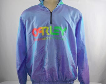 Vintage Early 90's Wise Guy Irredescent Windbreaker Quarter Zip Pullover