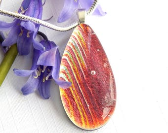 Copper and Golden Dichroic Glass Droplet Pendant, Fused Glass Jewellery, Caramel Art Glass Tear Drop Necklace