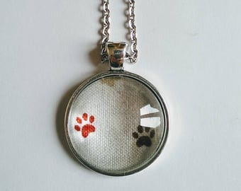 Paw Print Necklace, Animal Paw Necklace, Antique Silver Pendant Necklace with Long Chain, Statement Necklace, Silver Necklace