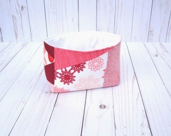sample sale - long Fabric Basket - handmade nursery storage - tea bin - fun snack bar container - office decor - home decor - scrappy pink