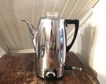 Vintage MidCentury 1950s Sunbeam Coffeemaster Model AP 10 Cup Chrome Percolator Coffee Pot Clean Tested & Working