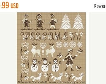 25% OFF SALE Perrette Samouiloff Winter Welcome Counted Cross Stitch Pattern
