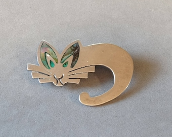 Vintage Cat Pin Brooch Sterling Silver Taxco Mexico Abalone Shell Inlay Southwest Animal Figural Jewelry
