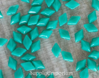 Green Turquoise GEMDUO Two Hole Diamond Shaped Beads, 10 Grams, 2360, Turquoise 2 Hole Gem Duo Beads