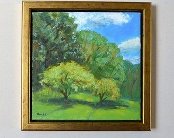 Plein air oil painting | Original landscape| Summer trees | impressionist | small 8X 8 square canvas| blue sky green field Garima Parakh