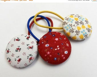 SUMMER SALE EVENT Girls hair tie ,buttons hair bow fabric Button Ponytail holder, floral button Hair Ties ,floral fabric hair bow,  Ready to