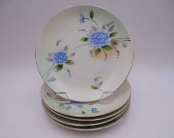 Set of 5 1900s Vintage Hand Painted Nippon Small Plates