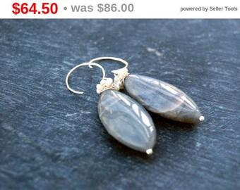 CIJ SALE** cassiopeia... silver labradorite and pearl earrings / sterling silver, marquis labradorite & pearl