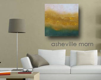 Original Oil Painting Landscape Art Wall Hanging Gallery Canvas Warm Colors Sky Earth Clouds - Home Interior Decorating Design DIY