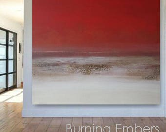 """Very Large 60"""" Modern Abstract Red Textured Art Painting Diptych Earth Landscape Wall Hanging Home DIY Interior Decorative Brown Big USA"""