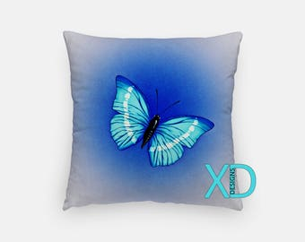 Blue Butterfly Pillow, Nature Pillow Cover, Pretty Pillow Case, Blue Pillow,  Artistic