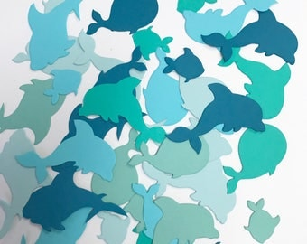 Die cut fish, Dolphin,  Shark, Whale, Fish cuts, 80 Die cut Under the sea animals , Fish Confetti,