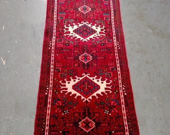 Persian Rug - 1980s Hand-Knotted Karaja Persian Rug Runner (3702)