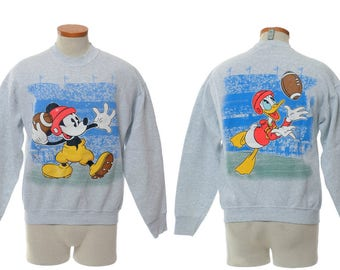 Vintage 80s Mickey Mouse Football Sweatshirt 1980s Quarterback Mickey with Donald Duck Old School Disney Fleece Shirt / size L