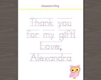 Cute Owl Stationery, Cute Owl Stationary, Cute Owl Thank You Cards, Owl Thank You Notes, Owl Stationery Set | Digital or Print | Owl Thanks