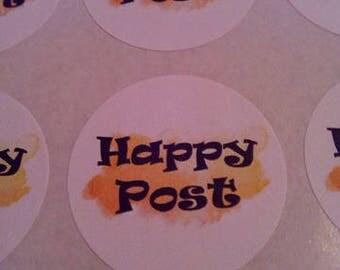35mm orange watercolour effect happy post stickers