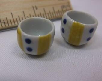 Miniature Soup Cups - Dollhouse Kitchen Cups Blue Poka-dot and Yellow Stripe - Free Shipping