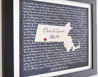 Wedding gift for couples, him, her, husband, anniversary gift, wife, custom song lyrics wall art, ANY state prints, personalized maine art