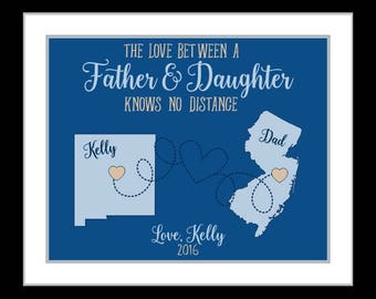 Personalized dad gifts, map for father daughter living far away gifts christmas gift from daughter dad long distance father daughter gift