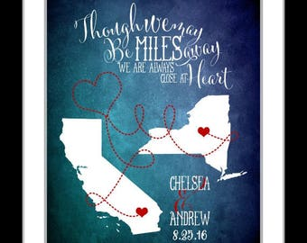 Miles away personalized map with couples initials and quote, long distance relationship, love gift, deployment, gifts girlfriend boyfriend