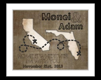 Long distance relationship gift, boyfriend present, deployment gift, valentines day, any map art prints, home is wherever im with you quote