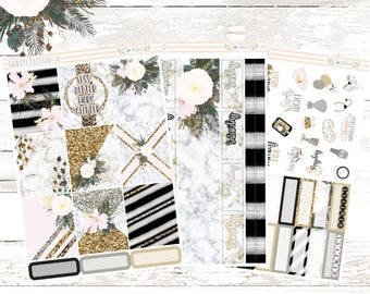Marble Glitter Weekly Planner Kit