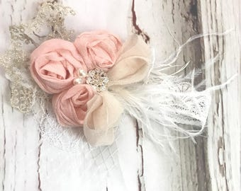 Vintage Girls Flower Petal Headband Pink Pearl headband baby hair accessories Baby lace headband Birdcage headband girls feather headband