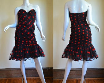 "1980s Tadashi Red & Black Polka Dot Ruched Net Curve Hugging Party Dress 36.5"" Bust"