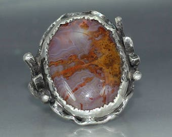 AN Agate  Sterling SilverMans Organic  Artisan Handmade Metalwork Ring